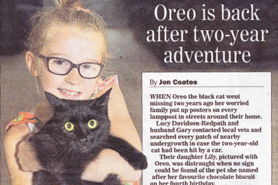 Oreo is back after two-year adventure